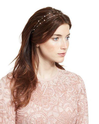 Lucia Two-Row Head Wrap, Crystal/Gold