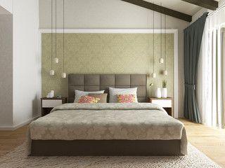 modern bedroom interior 3d render