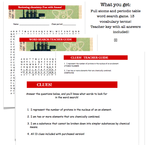 Periodic table atoms word search review fun activity 4th 5th 6th engaging and fun review of atoms and the periodic table urtaz Gallery