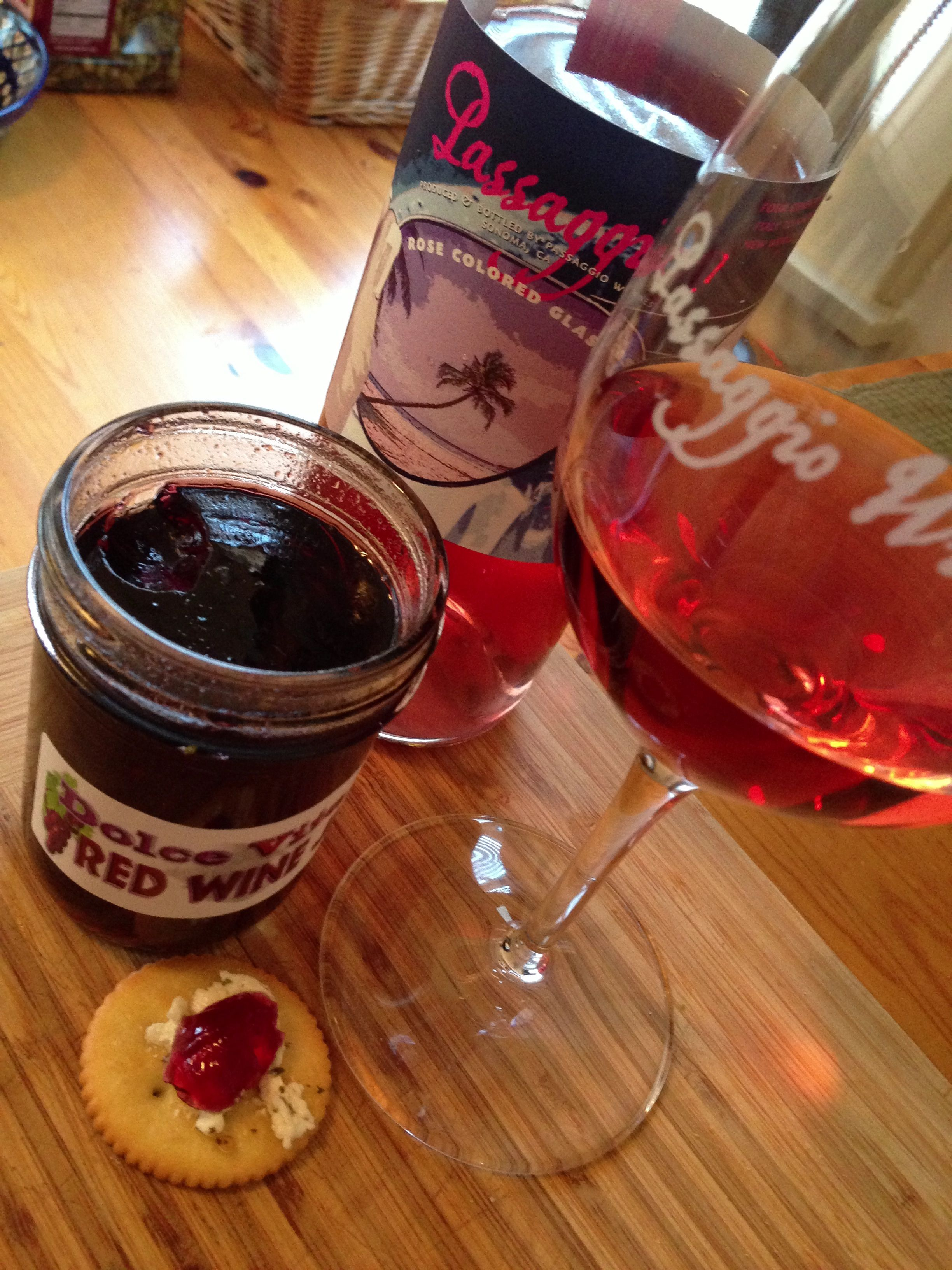 Passaggio Rose Colored Glasses With Dolce Vita Red Wine Jelly And Goat Cheese On A Ritz Cracker Wine Jelly Food Inexpensive Wine