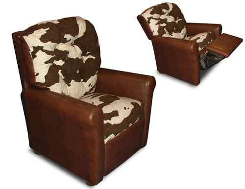 For Kids Cowhide Brown Leather Like Kids Recliner Cow