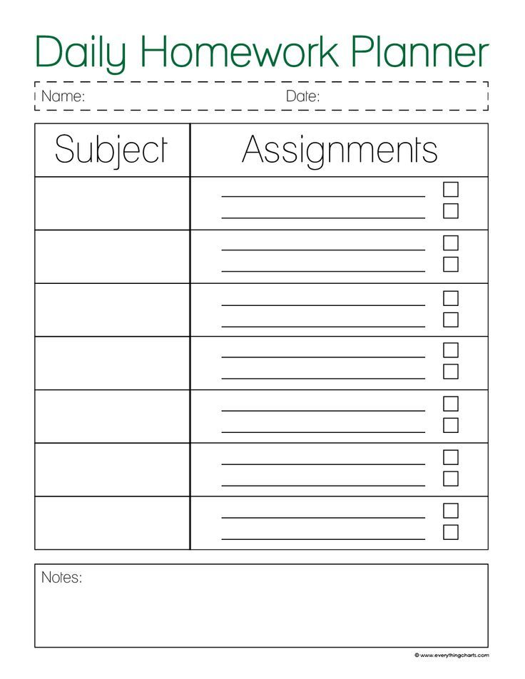 Image result for weekly homework planner printable | School ...
