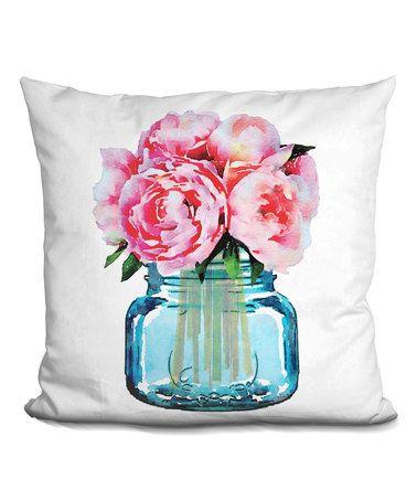 Look what I found on #zulily! Amanda Greenwood Mason Jar Peonies Throw Pillow by LiLiPi #zulilyfinds
