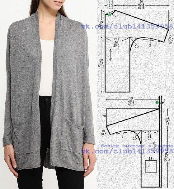 guía con los números   Costura y moda: Abrigos, túnicas, kimonos ...