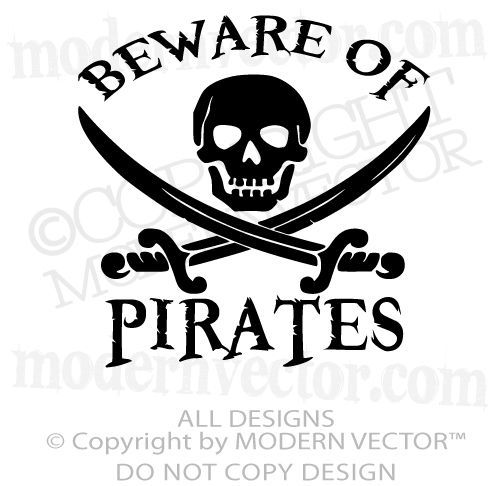 Pirate Theme Beware Of Pirates Quote Vinyl Wall Decal Nursery Boy Girl Bedroom Nursery Wall Decals Boy Vinyl Wall Decals Nursery Boy Girl Bedroom