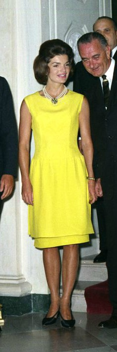 Jackie Kennedy In Canary Yellow Sheath Dress Talking With Lbj