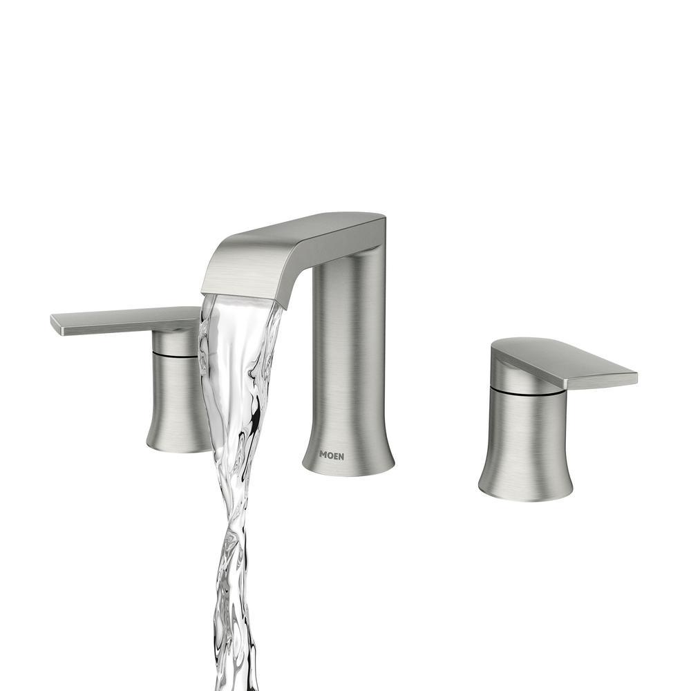 Moen Genta 8 In Widespread 2 Handle Bathroom Faucet In Spot Resist Brushed Nickel 84763srn The Home Depot In 2021 Bathroom Faucets Bathroom Faucets Waterfall Bathroom Faucets Brushed Nickel Moen