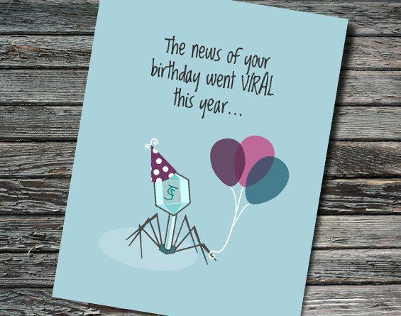 Birthday Viral Bacteriophage Card Biology Chemistry Physics Virology Microbiology Teacher Student Scientist Professor Nerdy In 2020 Teachers Day Card Teacher Cards Birthday Cards Diy