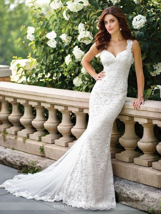 6cabe17f66c8 ... Destination Wedding Dresses by French Novelty. Style 117186 from  Enchanting by Mon Cheri is a sleeveless allover lace, chiffon and tulle