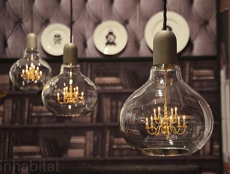 Mini Chandelier Inside Glass Bulb Makes For One Unusual Pendant Lamp Unusual Pendant Lights Pendant Lamp Pendant Lamp Design