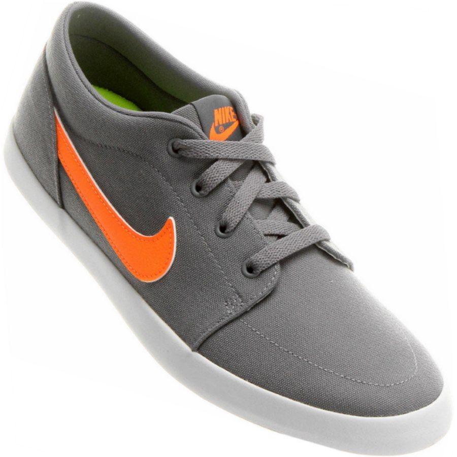 Tênis Nike Futslide Canvas Casual Masculino Cinza   Laranja  89e305d541a4b