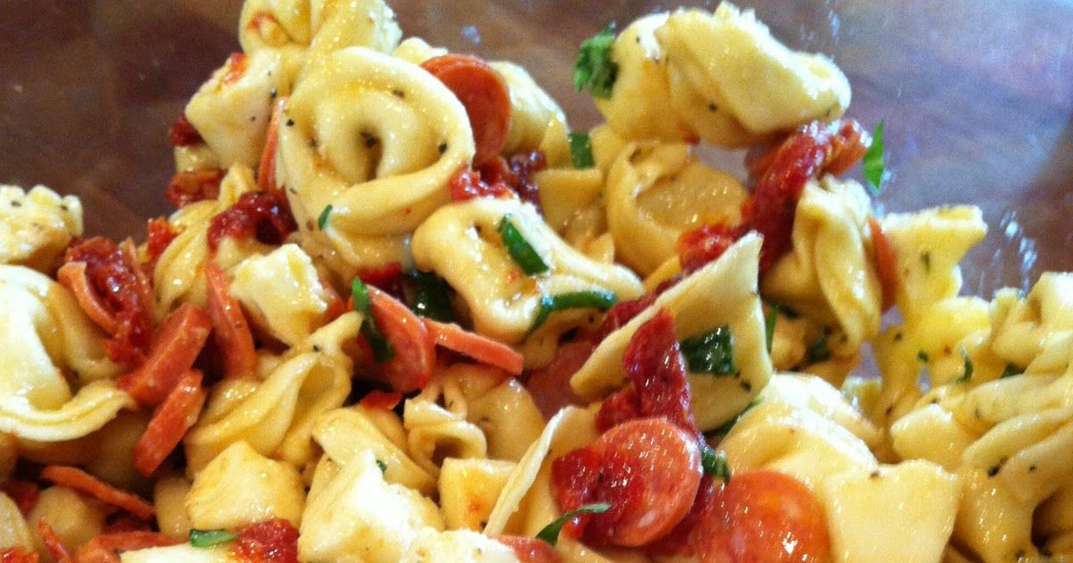 TORTELLINI SALAD    1 (20-ounce) package refrigerated cheese tortellini    1 cup fresh mozzarella, cubed    1 cup pepperoni, chopped    ...