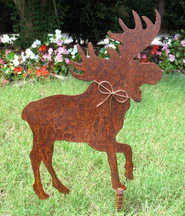 Moose Metal Garden Stake   Metal Yard Art   Metal Garden Art   Rustic    Rusty