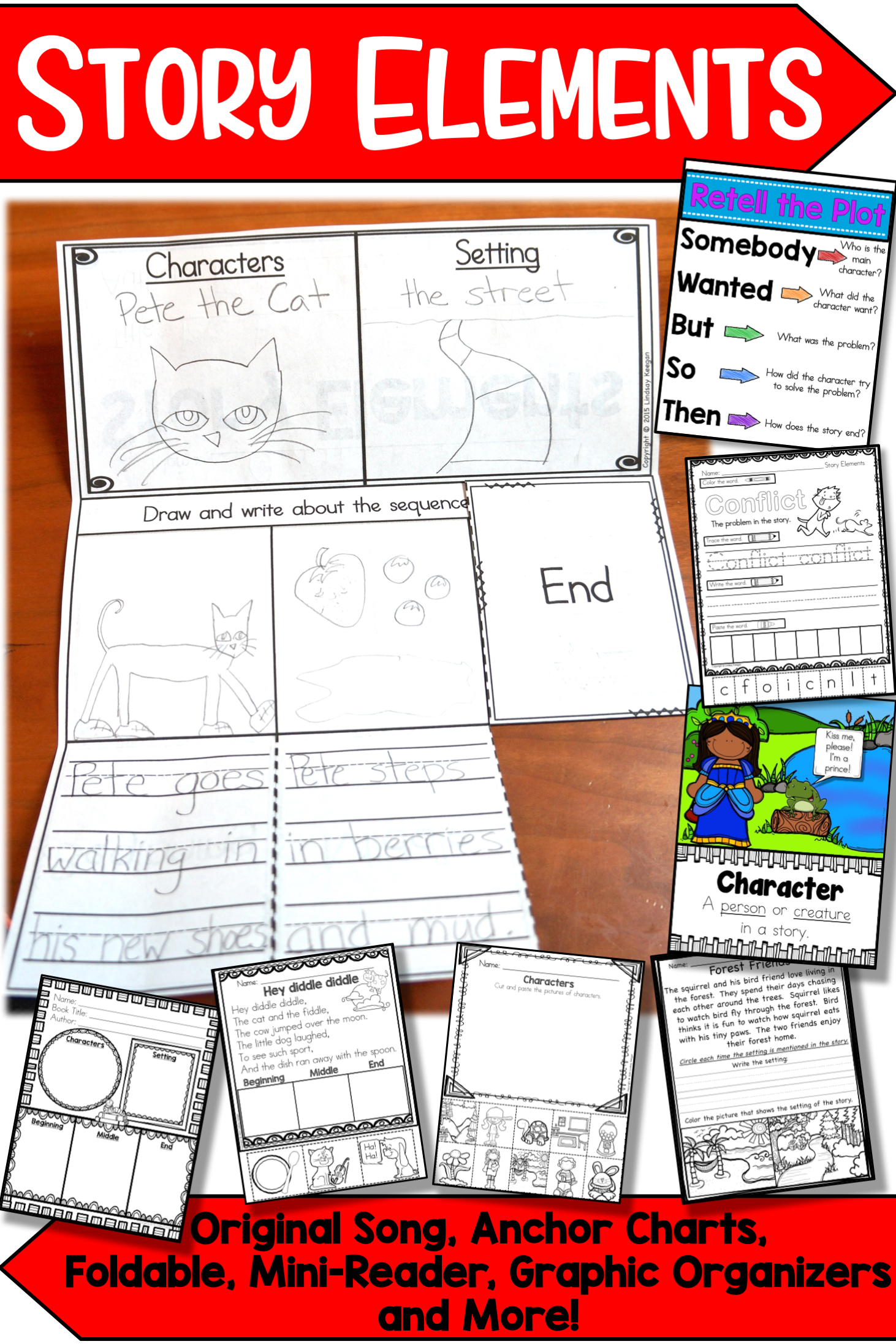 Story Elements Graphic Organizers Anchor Charts Songs