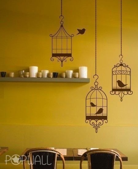 Bird Cages Wall Decal Living Room Animal Wall Decals Wall - Yellow bird wall decals