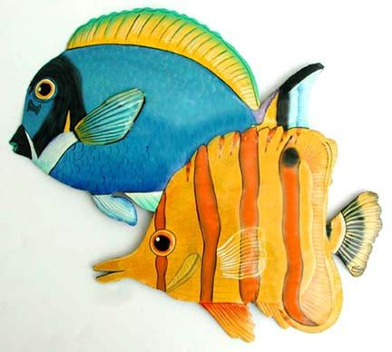 Tropical Fish Art, Metal Wall Art, Painted Metal Art, Tropical Fish ...