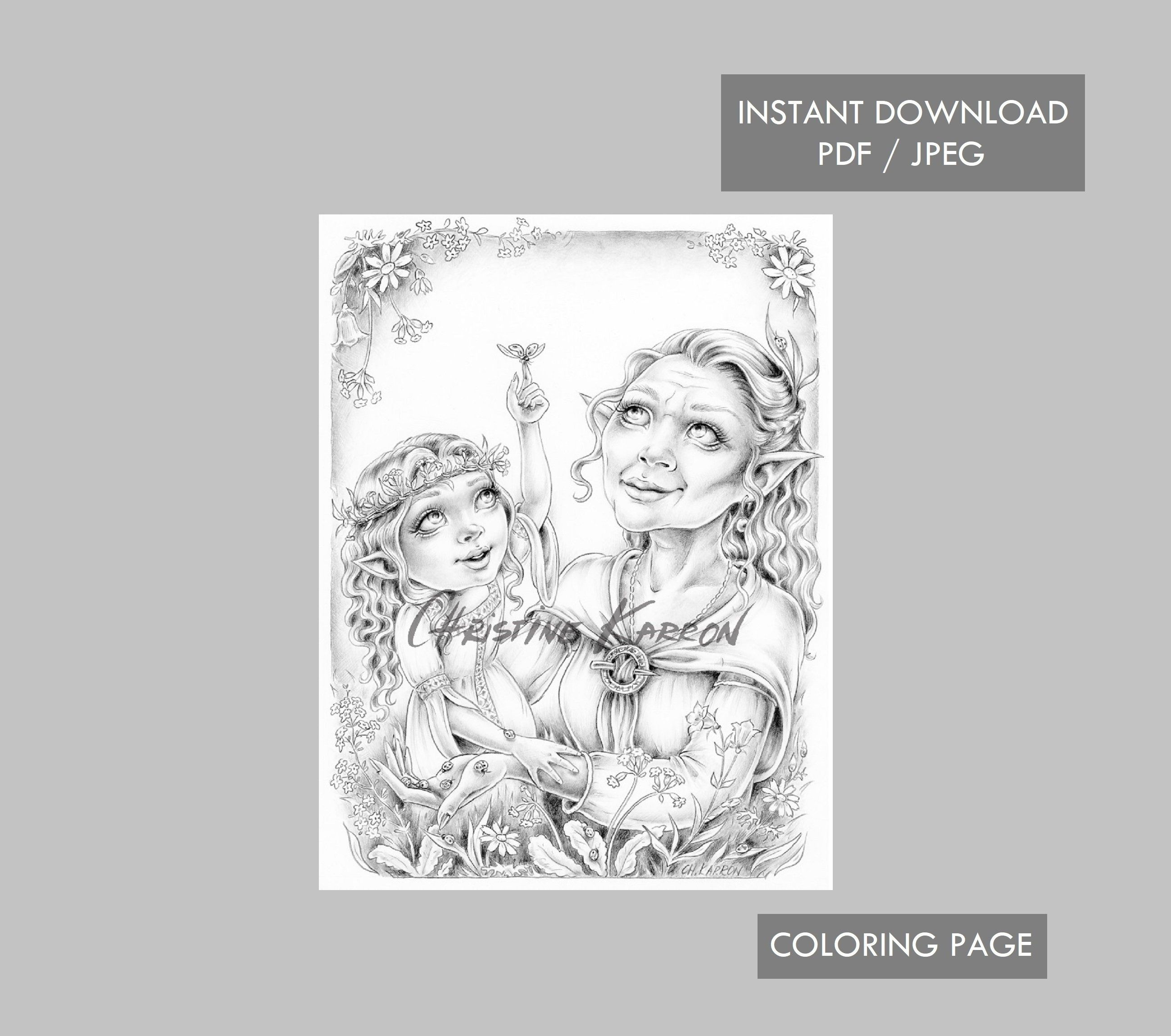 Fairy Grandmother With Granddaughter Coloring Page Grayscale Instant Download Printable File Jpeg And Pdf Coloring Pages Forest Coloring Pages Grayscale [ 2300 x 2600 Pixel ]