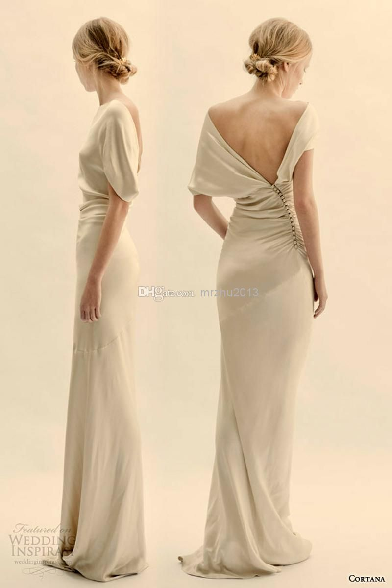 simple sheath bridal dresses crew backless floor length short
