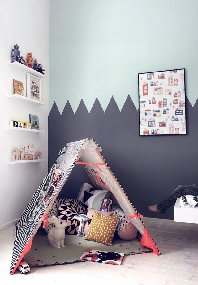 zigzags + stripes - love the playful mix of paints + patterns in ...