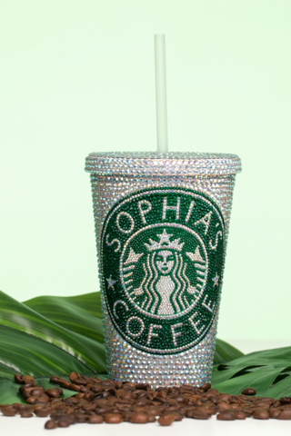 Custom Starbucks Tumbler With Straw Americano Crystals Personalized Tumblers Reusable Coffee Cup Valentines Gifts Monogrammed Tumbler Cups