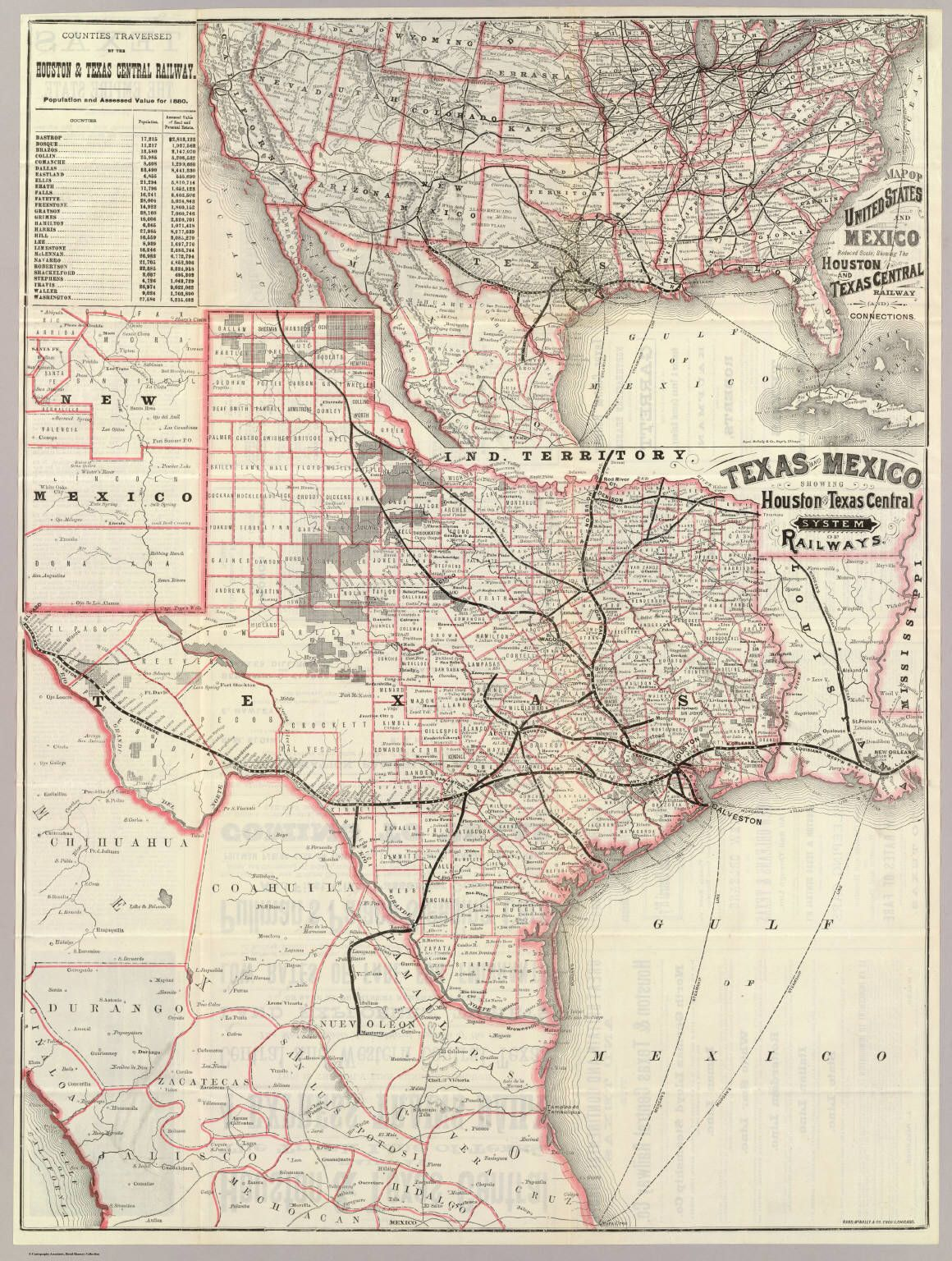 1880 Map Of Texas And Mexico Railway Connections Historic Maps Of