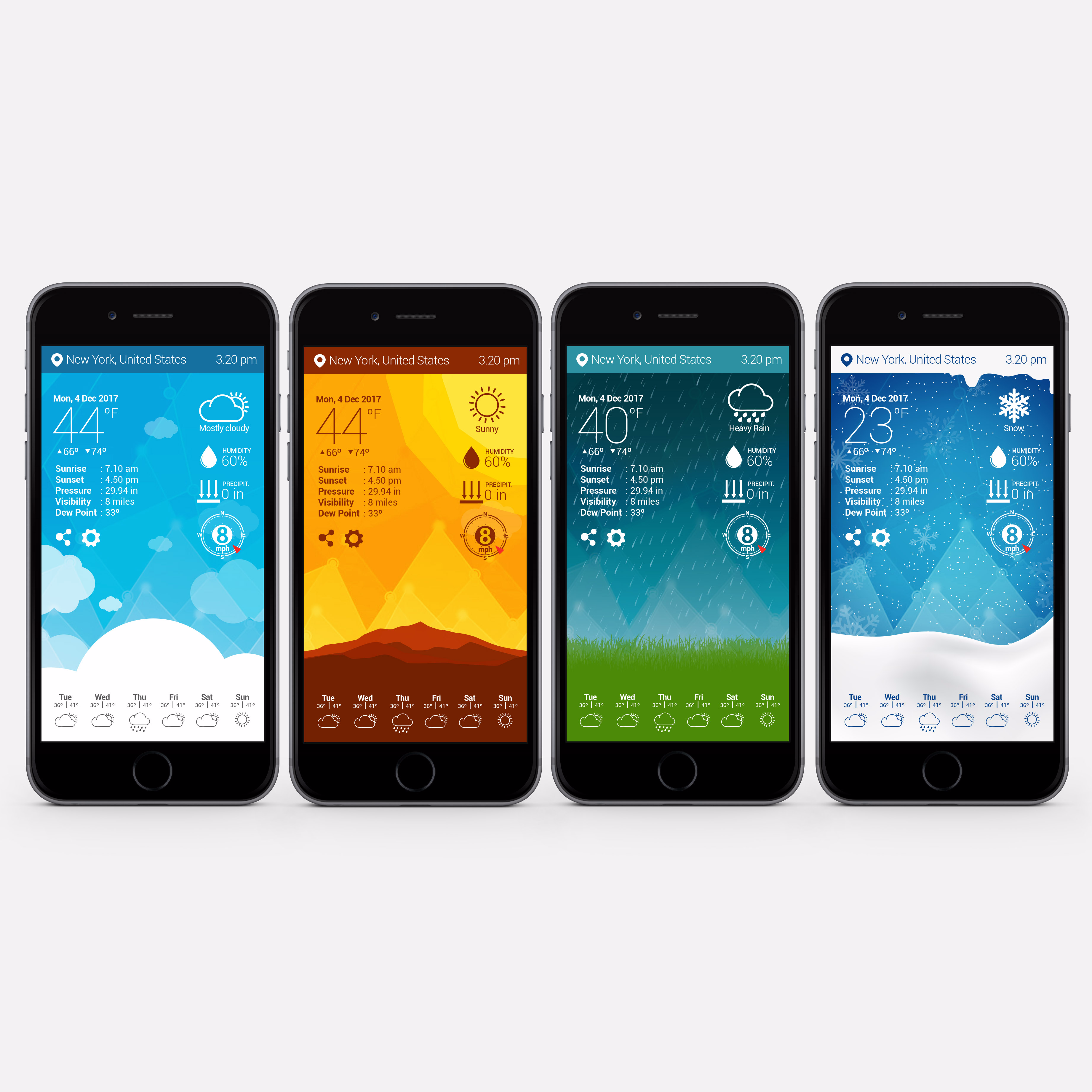 Weather App design by JStyle (custom weather app design