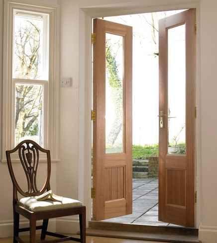 Wood glass exterior remodel balcony doors in 2019 - Wooden double glazed french doors exterior ...