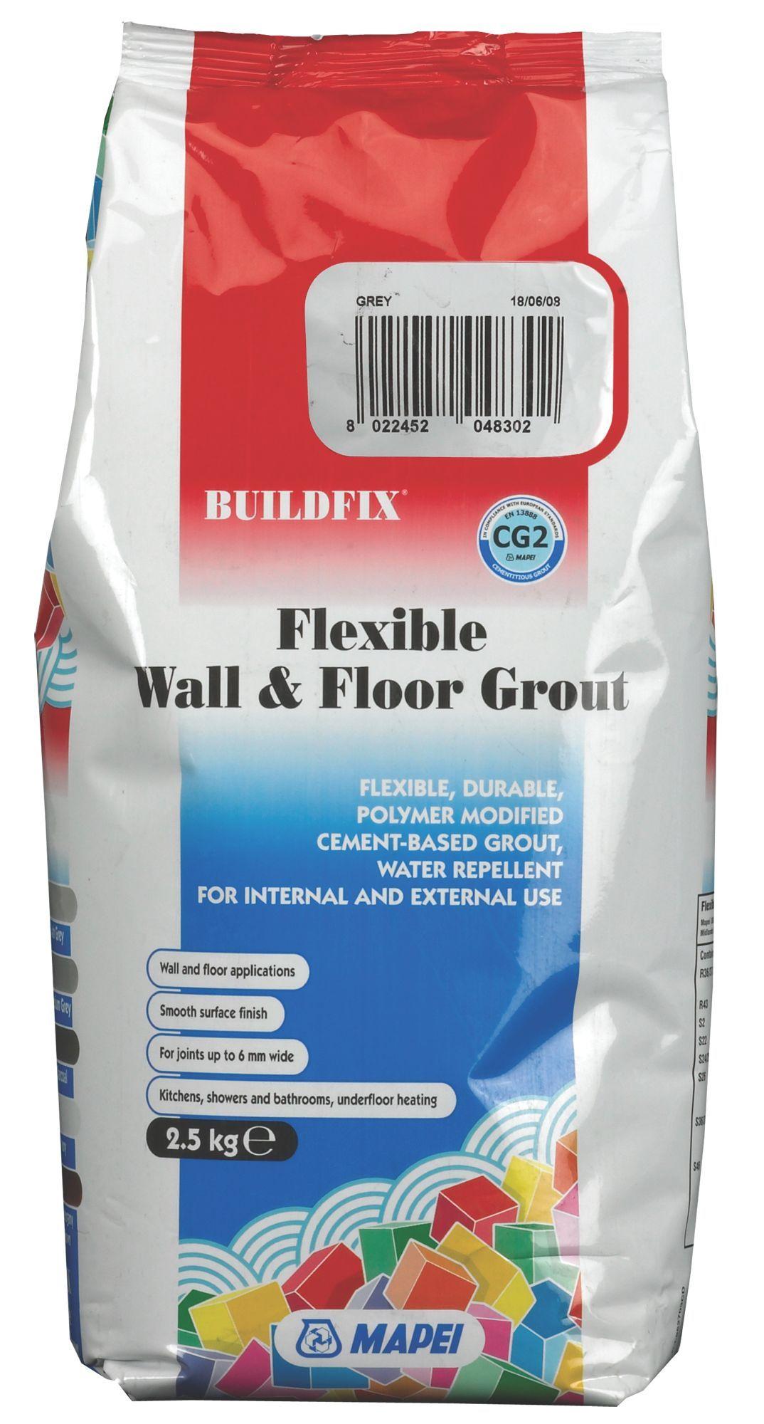 Mapei Flexible Grey Wall & Floor Grout (W)2.5kg ...