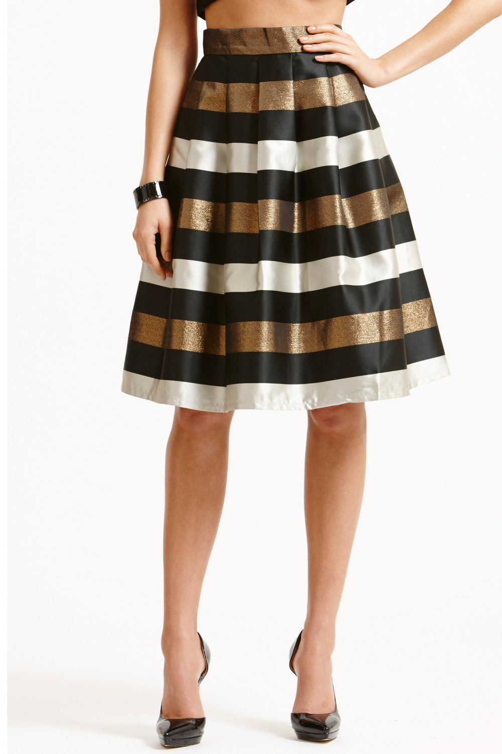 A Line Black And White Skirt - Dress Ala