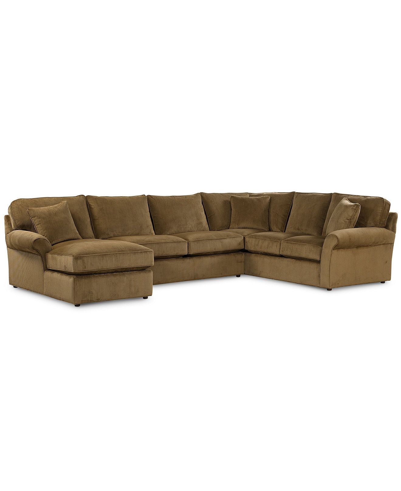 Virtual Fabric Sectional Sofa 3 Piece Chaise Loveseat and Left