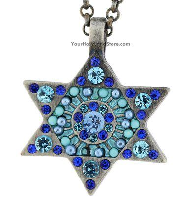 STAR OF DAVID NECKLACE WITH BLUE CRYSTALS #jewelry #beautiful #jewish #judaica #necklace #starofdavid #blue