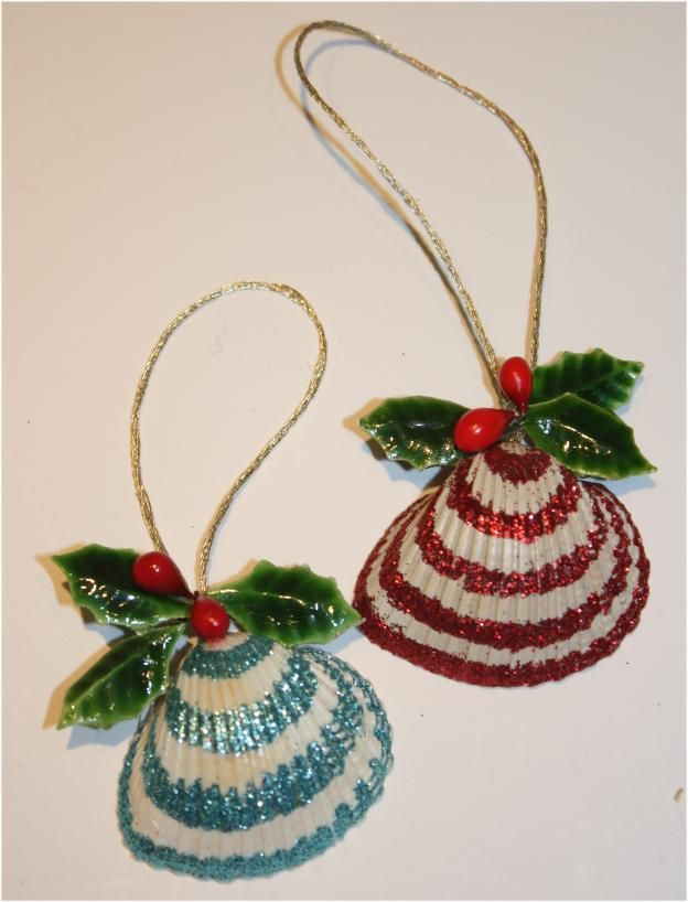 Glittered seashell ornaments memories of our trip to for Seashell ornament ideas
