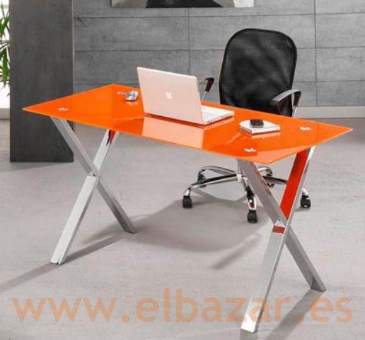Mesa escritorio oficina glax cristal naranja patas for Oficina de orange