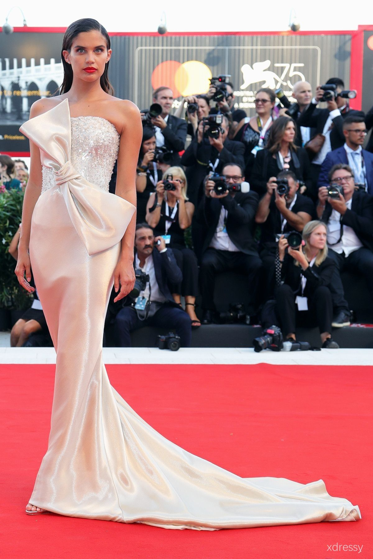 4b25f7e9324 Sara Sampaio Crystals Encrusted Bodice with Huge Bow Ivory Chapel Train  Mermaid Prom Dress Venice Film Festival 2018