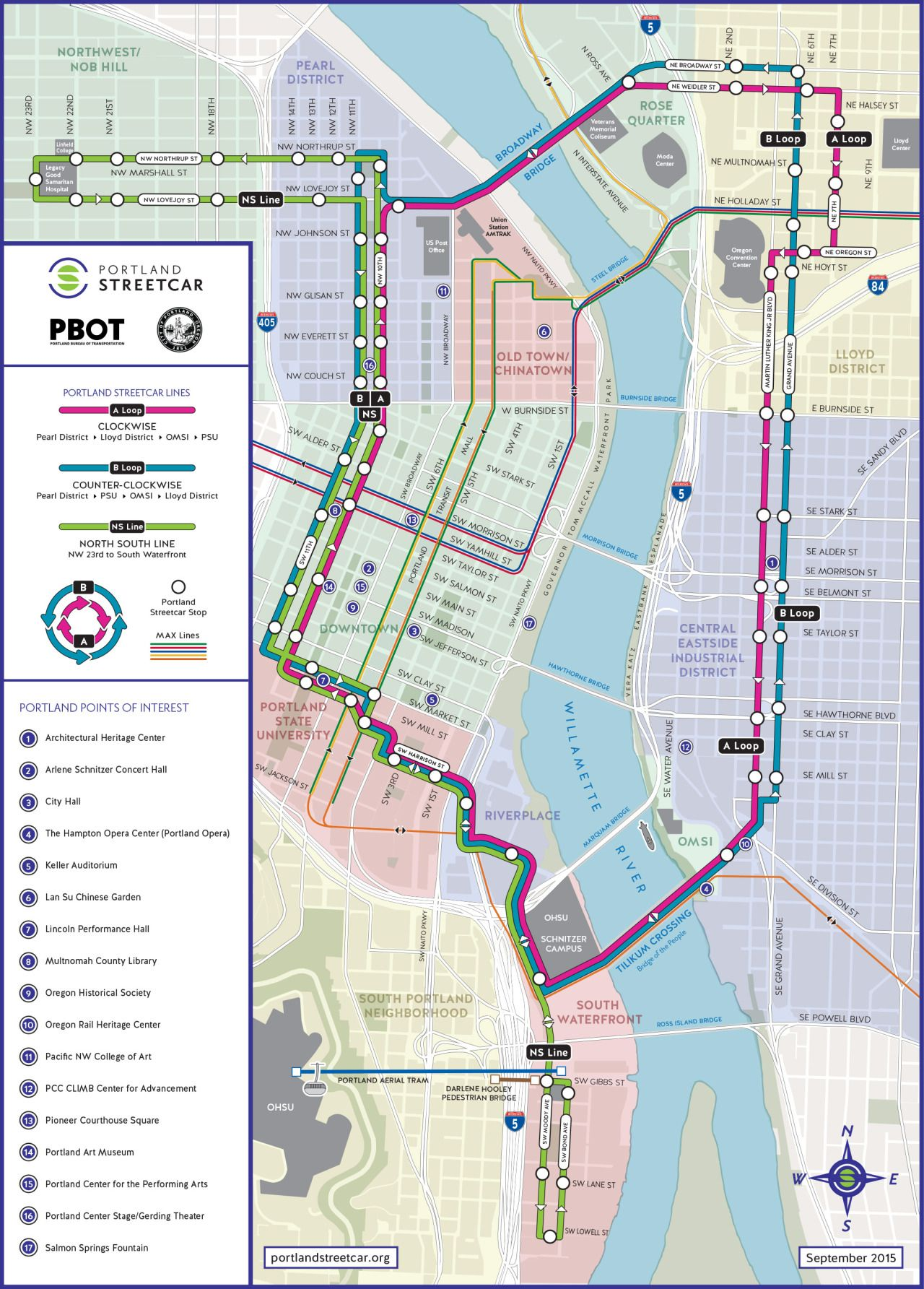 portland street car map Official Map Portland Streetcar September 2015amidst All The Hoopla Surrounding The Opening Of The New Max Light Rail Orange Transit Map Route Map Metro Map portland street car map