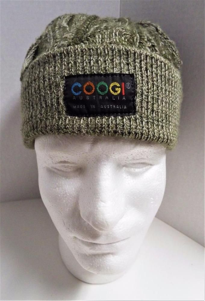 Coogi Australia Sweater Knit Green Beanie Hat Size XL Ski Cap Authentic  Textured  COOGI  Beanie 847e6674349