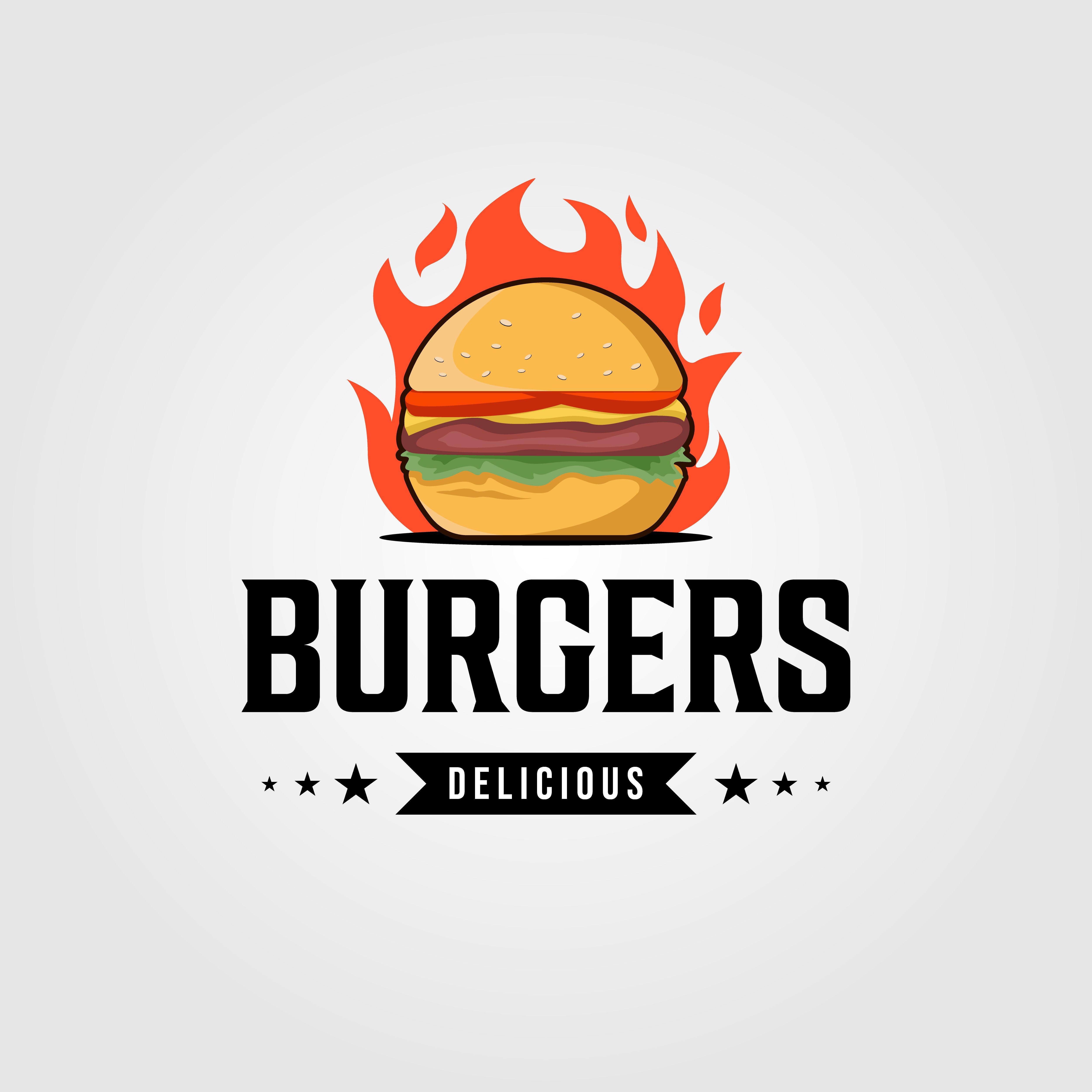 vintage hot burgers logo designs By linimasa Logos