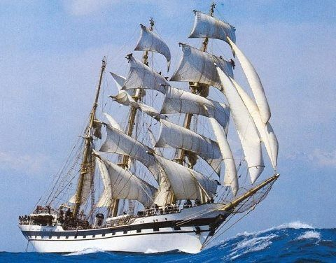 """Three-masted barque """"Simon Bolivar"""" running by  favorable fresh wind."""