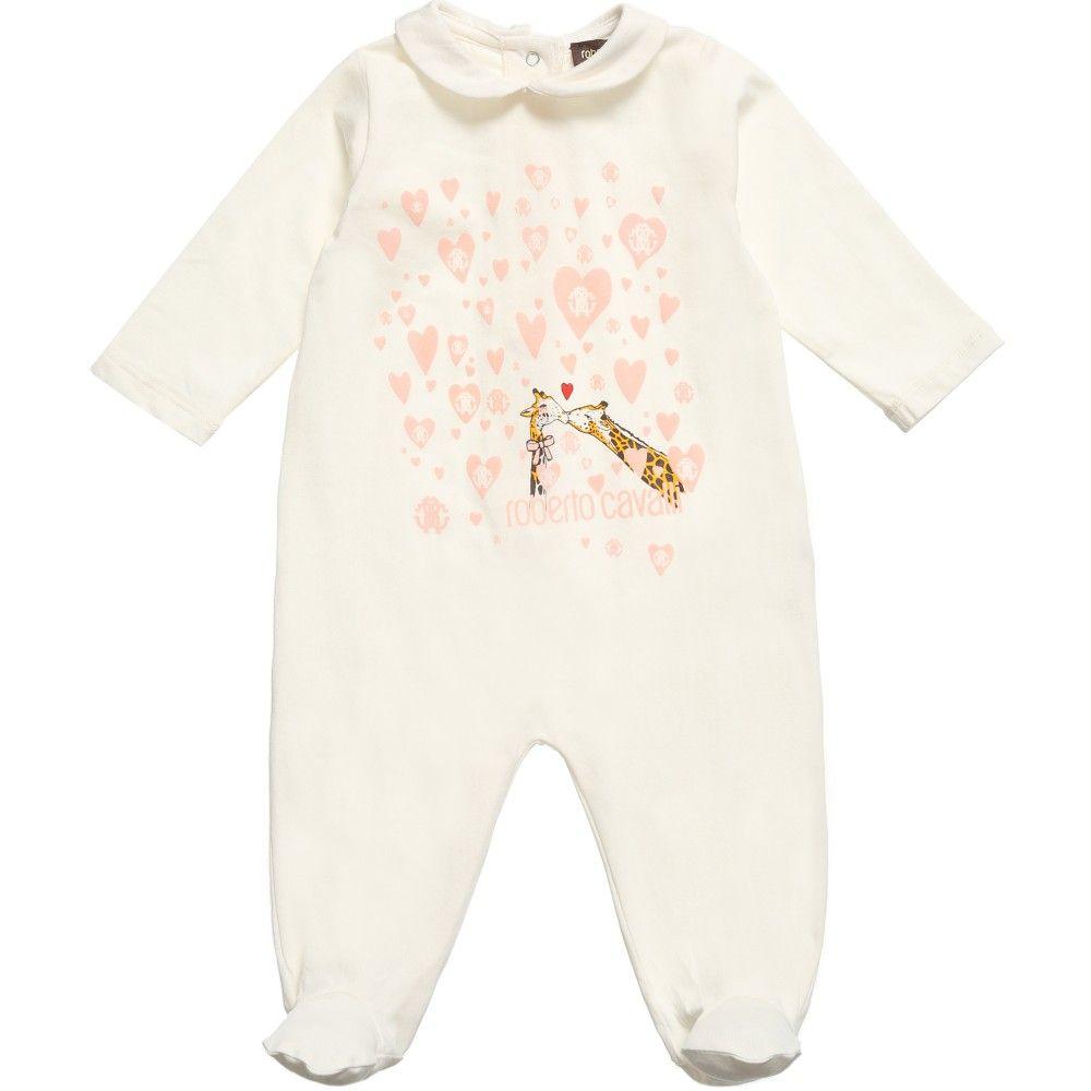 bcf21e0c6268 Roberto Cavalli Baby Girls Ivory Babygrow with Giraffe Print at ...
