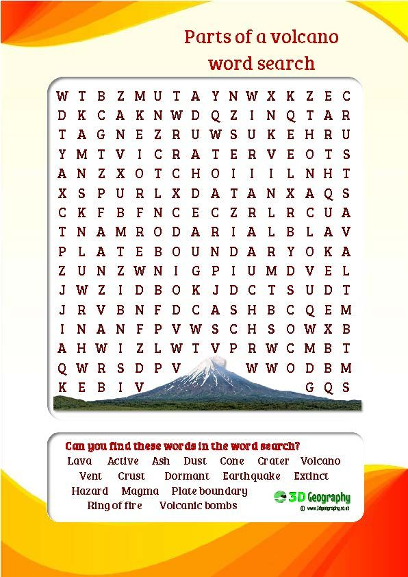 Volcanoes Word Search Puzzle | Science vocabulary, Word search ...