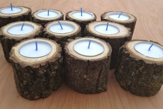 50 Wood Log Tea Light Candle Holders for Woodland Wedding. Black Walnut. All Natural. Rustic. 7 Hour Tea Light Candles Included.