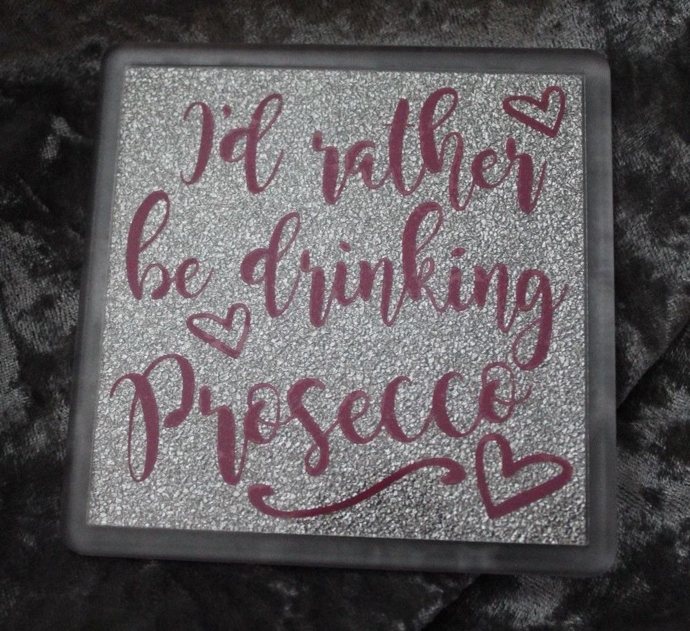 I'd rather be drinking Prosecco Coaster - Hot pink/Silver glitter Novelty Gift #Unbranded #Contemporary