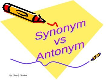 Synonym And Antonym Powerpoint Synonyms And Antonyms Context Clues Antonym
