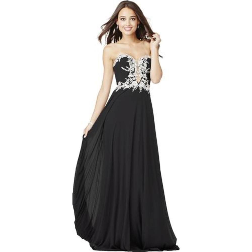 Jvn by jovani black embellished illusion formalpageant gown size
