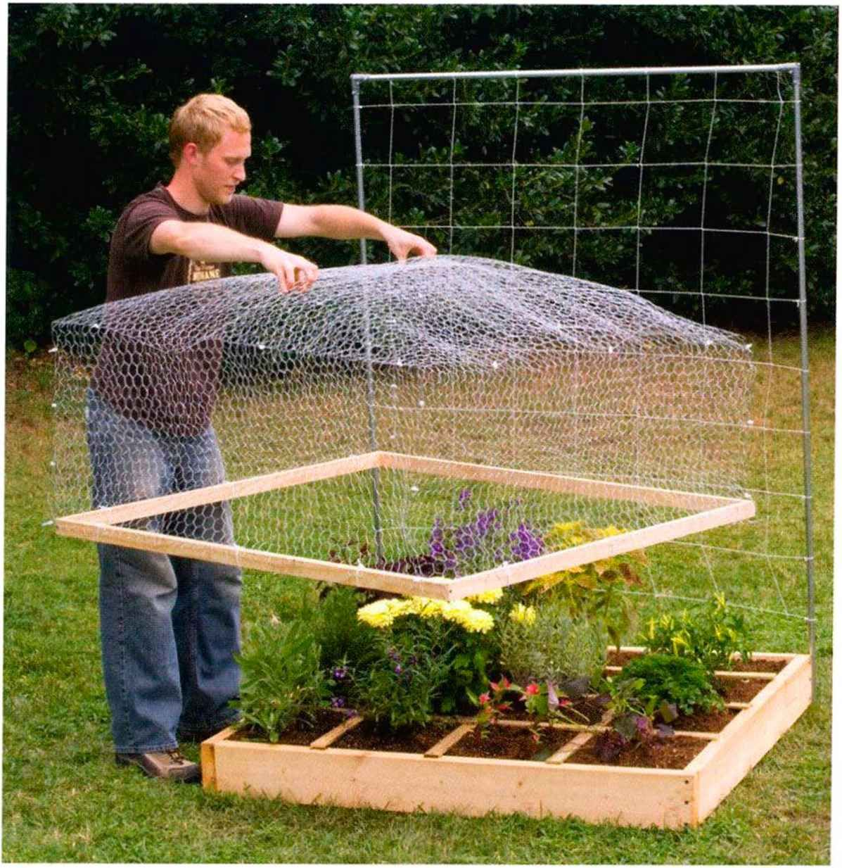Wire mesh lid to keep out animals nice i for Square foot garden designs