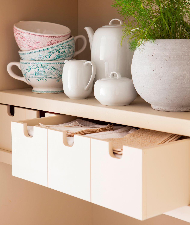 Pequeños cajones para paños de cocina y accesorios, con estante con ...