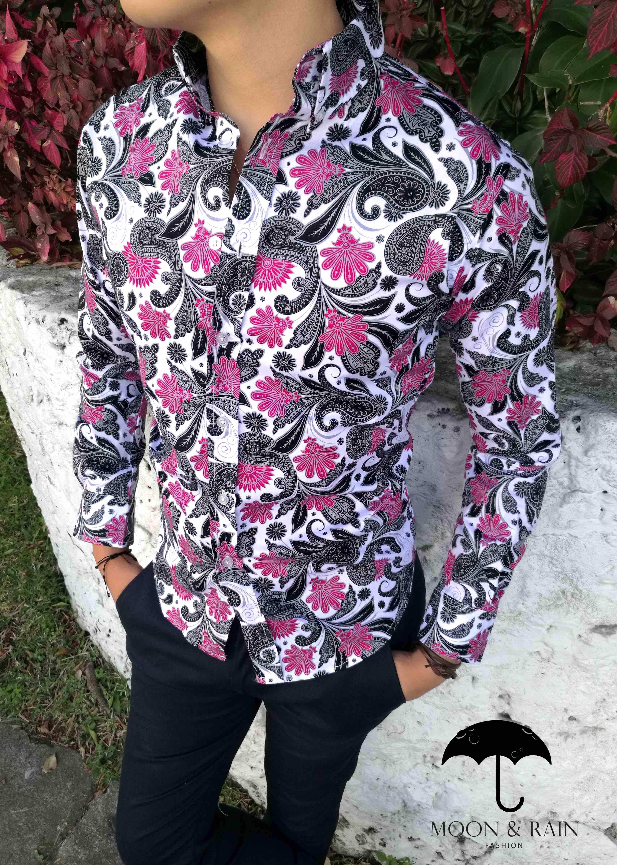 Camisa Slim Fit Blanca De Flores Rosa En Para Hombre Moon Rain Tiendas Platino Camisas Camisas Estampadas Camisa Manga Corta