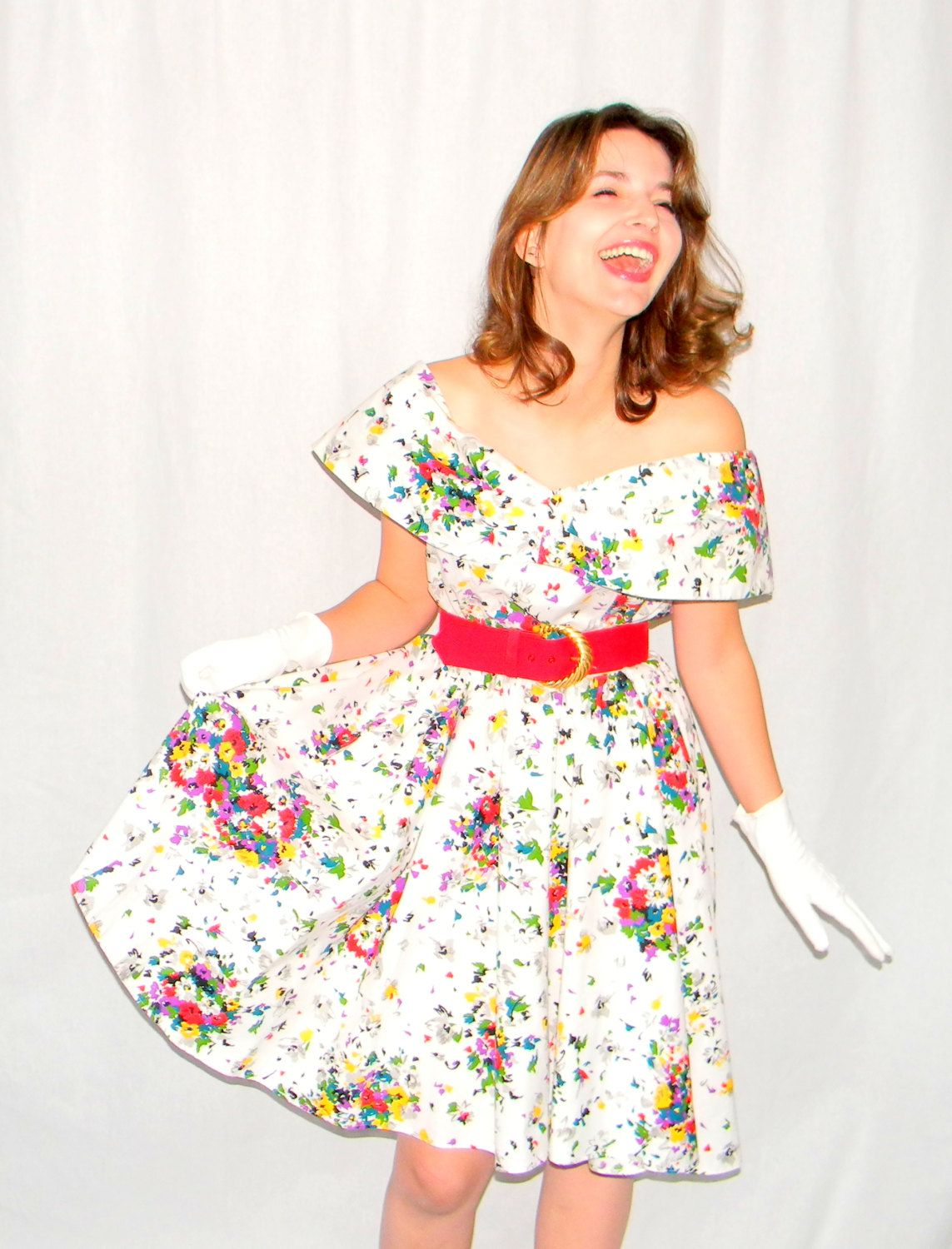 80s Off the Shoulder Floral Swing Dress. Rockabilly Dress Flower ...