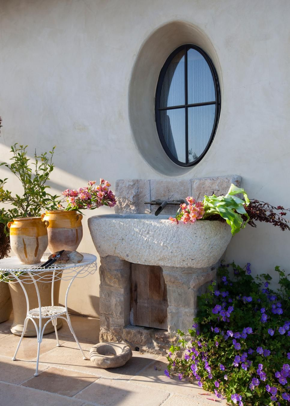 Beau This Rustic Stone Sink Near A Garden Is Built In An Asymmetrical Manner,  Making It Look Like An Element From A Centuries Old ...