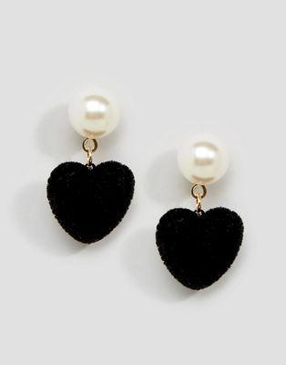Limited Edition Furry Heart Drop Earrings